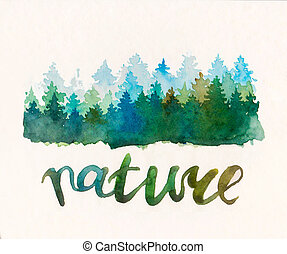 Pine waterccolor forest. Watercolor blue green abstract...