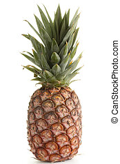 A fresh, ripe pineapple isolated on a white background.