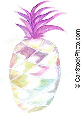 Pineapple abstract art - Stylized pineapple painted in ...