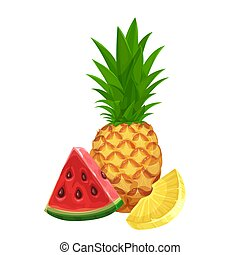 Pineapple and a slice of watermelon