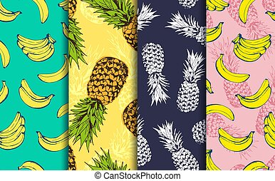 Pineapple and banana decorative seamless patterns set, vector collection of food fruits background