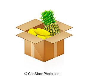 pineapple and bananas in cardboard box