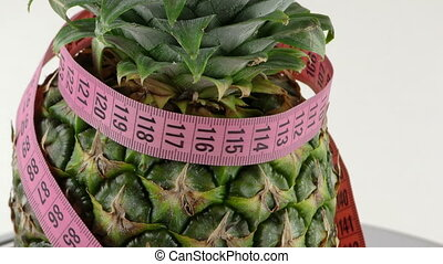Pineapple and Measurement Healthy Fit Fruit Concept