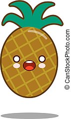 Pineapple Apple fruit cartoon character icon kawaii Flat design Vector