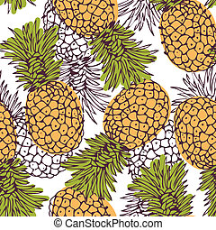 Pineapple background - Vector seamless pattern with the...