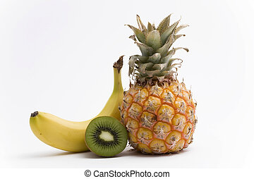 pineapple, banana and kiwi fruit