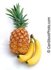 Pineapple & Bananas - a whole pineapple posed with two...