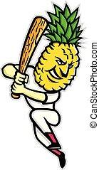 Pineapple Baseball Batting Mascot - Mascot icon illustration...