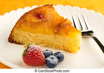 pineapple cake garnished with berries