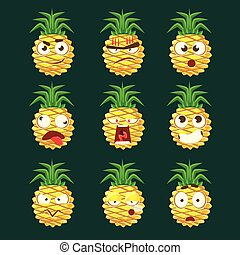 Pineapple Cartoon Emoji Portaraits Fith Different Emotional Facial Expressiona Collection Of Cartoon Stickers