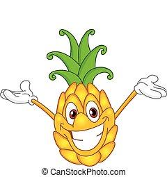 Pineapple - Cheerful cartoon pineapple raising his hands