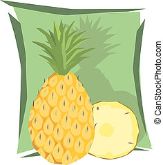Pineapple - Illustration of pineapple and slice in green...