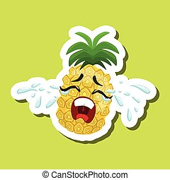 Pineapple Crying Out Loud, Cute Emoji Sticker On Green Background