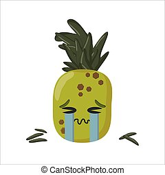 pineapple crying unhappy cartoon character isolated on white background