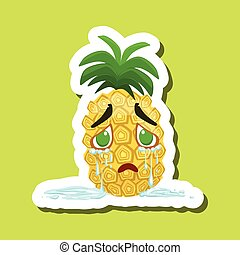 Pineapple Crying With Tears Running Down, Cute Emoji Sticker On Green Background
