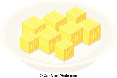 Pineapple cube icon, isometric style