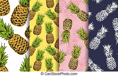 Pineapple decorative seamless patterns set, vector collection of food fruits background
