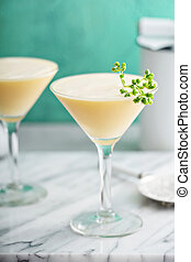 Pineapple egg white fizz cocktail with rum