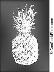 Pineapple - Hand -  drawn pineapple on chalkboard background