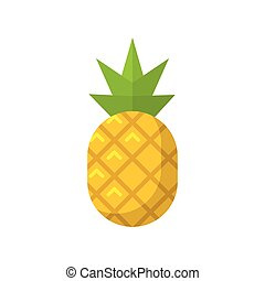 Pineapple fruit flat isolated vector icon illustration