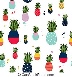 Pineapple fruit fun color pattern background