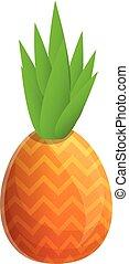 Pineapple fruit icon, cartoon style