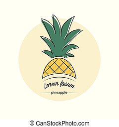 Pineapple fruit logo. Vector illustration.