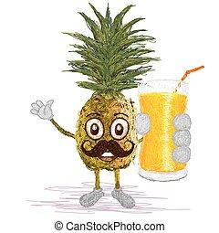 pineapple fruit mustache