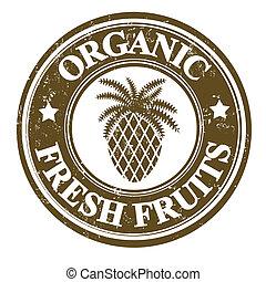 Pineapple fruit stamp or label - Pineapple organic fruit...