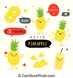 Pineapple Fruit Summer Cartoon Smile Funny Cute Character Vector
