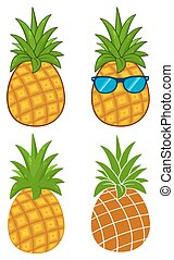 Pineapple Fruit With Green Leafs Cartoon Drawing Simple Design Series Set 1. Collection