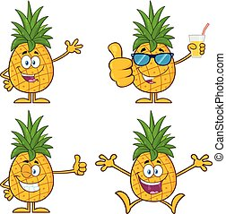 Pineapple Fruit With Green Leafs Cartoon Mascot Character Set 1. Vector Collection