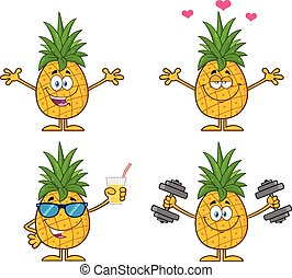 Pineapple Fruit With Green Leafs Cartoon Mascot Character Set 2. Vector Collection