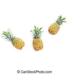 Pineapple fruits isolated on white background. Flat lay, top view. Natural food concept.
