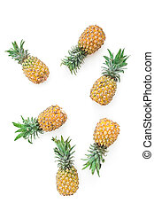 Pineapple fruits isolated on white background. Flat lay