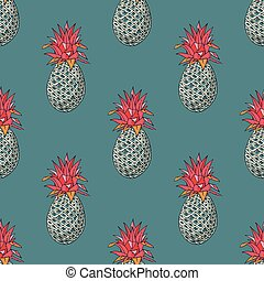 Quirky hand drawn cartoon pineapple. Hand drawn quirky ...