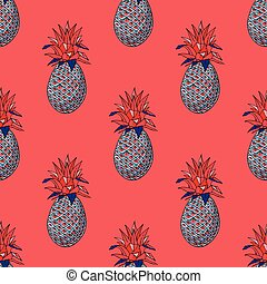 Pineapple funky seamless pattern