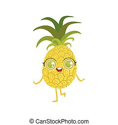 Pineapple Girly Cartoon Character.Childish Design Sticker...