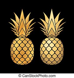 pineapple gold icons set