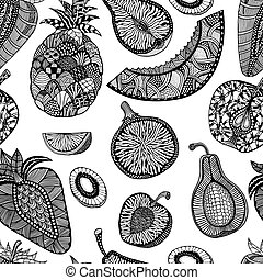pineapple Hand drawn - Seamless pattern backgroud of fruit....