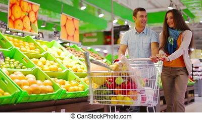Pineapple - Happy family doing shopping, lovely girl...