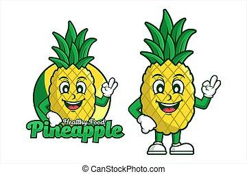 Pineapple Healthy food character Cartoon design logo