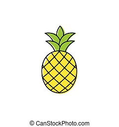 pineapple icon. black vector sign
