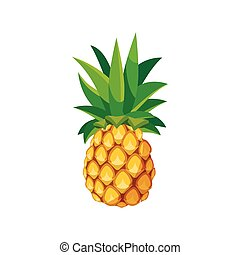 Pineapple icon in cartoon style on a white background