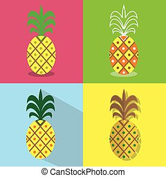 Pineapple icons set - Different styles of colorful flat designs