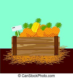 pineapple in a wooden crate