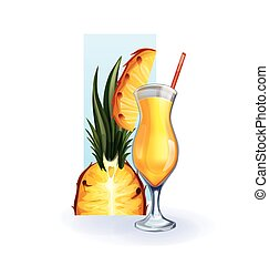 pineapple in goblet of juice, cocktail, smoothie - bocal of...