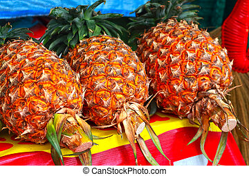 Pineapple in the market
