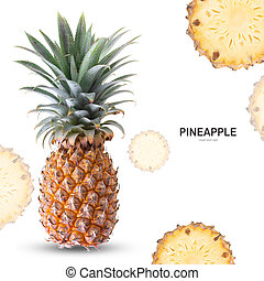 Pineapple isolate on white background.