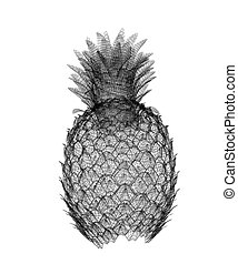 Pineapple isolated on white background.3d illustration